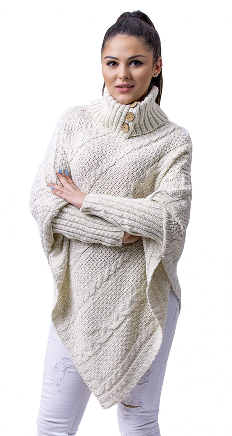 Glamour Empire Women's Warm Knit Poncho Sweater Batwing Cape Top Jumper 956 ONE Size UK 8/10/12 ONE Size) GE_KNIT_956_7