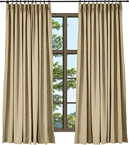 TWOPAGES Linen Cotton Pinch Pleat Curtain Elegant Natural Tan Curtain