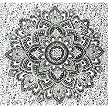 Black and White Tapestry Ombre Tapestry by JaipurHandloom Mandala Tapestry, Queen, Multi Color Indian Mandala Wall Art Hippie Wall Hanging Bohemian Bedspread