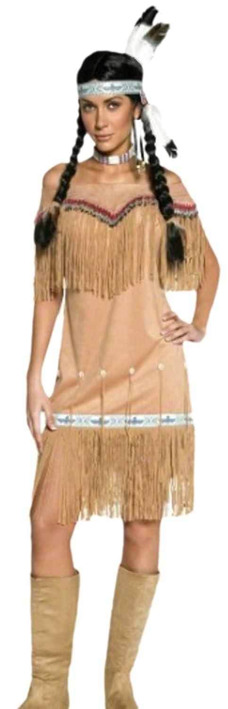 Erdbeerloft - Damen Indianerin Häuptlingstochter Wilder Westen Kostüm, M, Beige