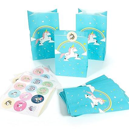 Joeyer Unicornio Bolsas de Regalo, 20 PCS Arcoiris Azul Unicornio Bolsa de Regalo + 45 PCS Thank You Pegatinas para Niños Cumpleaños, Navidad, Ducha ...