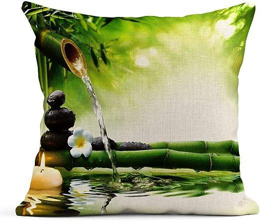 Kinhevao Cojín Verde Bambú SPA Piedras en Jardín Flujo Agua Fuente Zen Flor Bosque Cojín de Lino Almohada Decorativa para el hogar: Amazon.es: Jardín