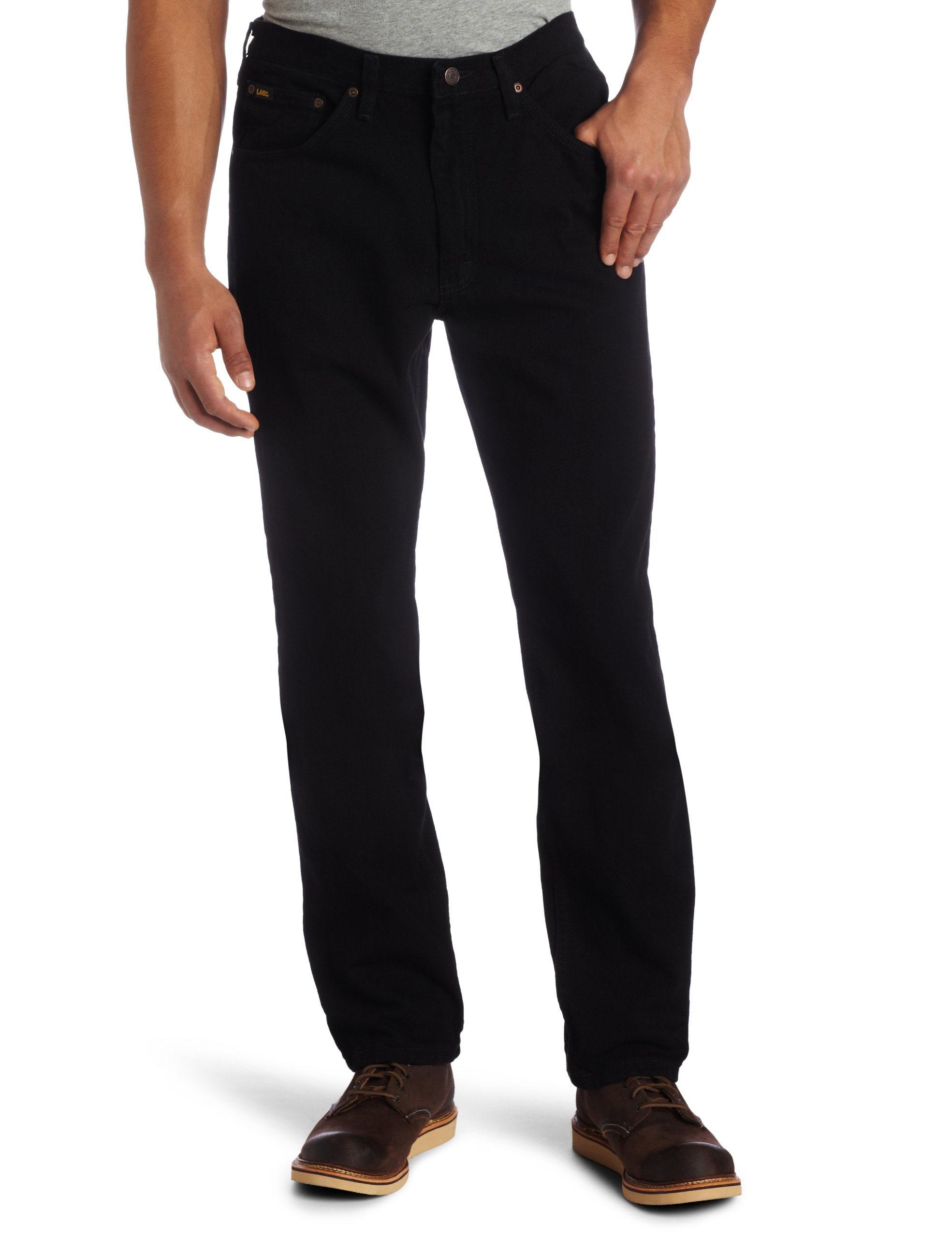 Lee Men's Regular Fit Straight Leg Jean, Double Black, 34W x 32L