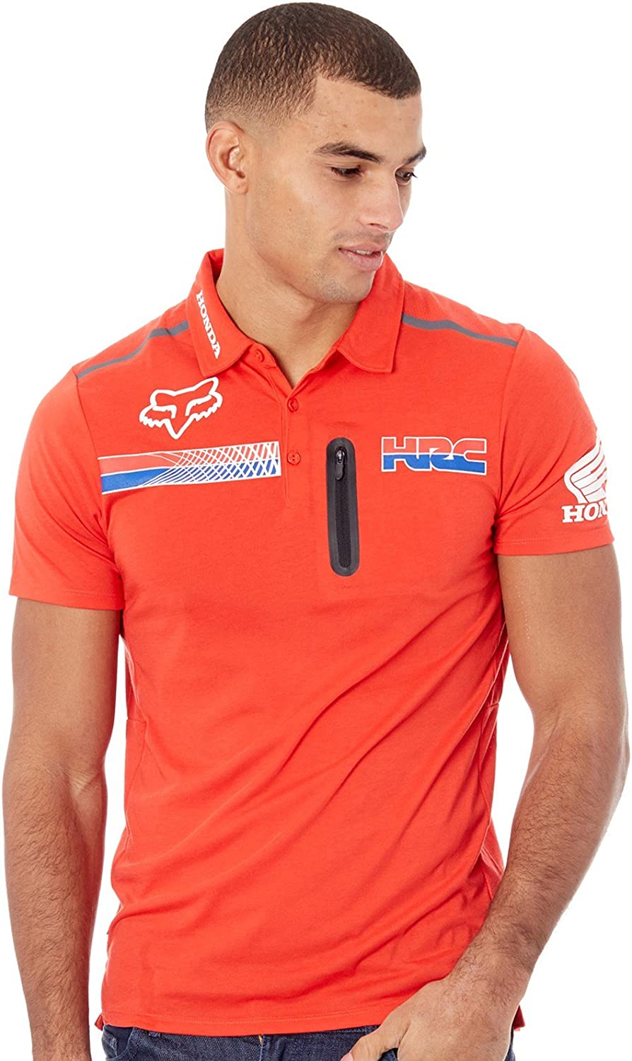 Pit HRC Tech SS Polo [Fox-Honda, FLAME RED] Premium (M): Amazon.es ...