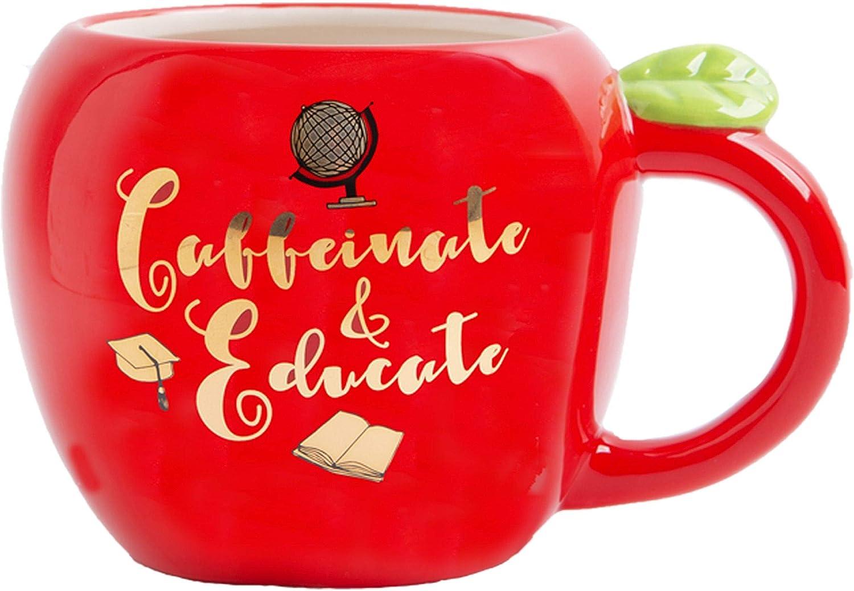 Home Essentials 92573 Shiny Red Apple Shape Teacher Mug Caffeinate and Educate, 31 Ounce