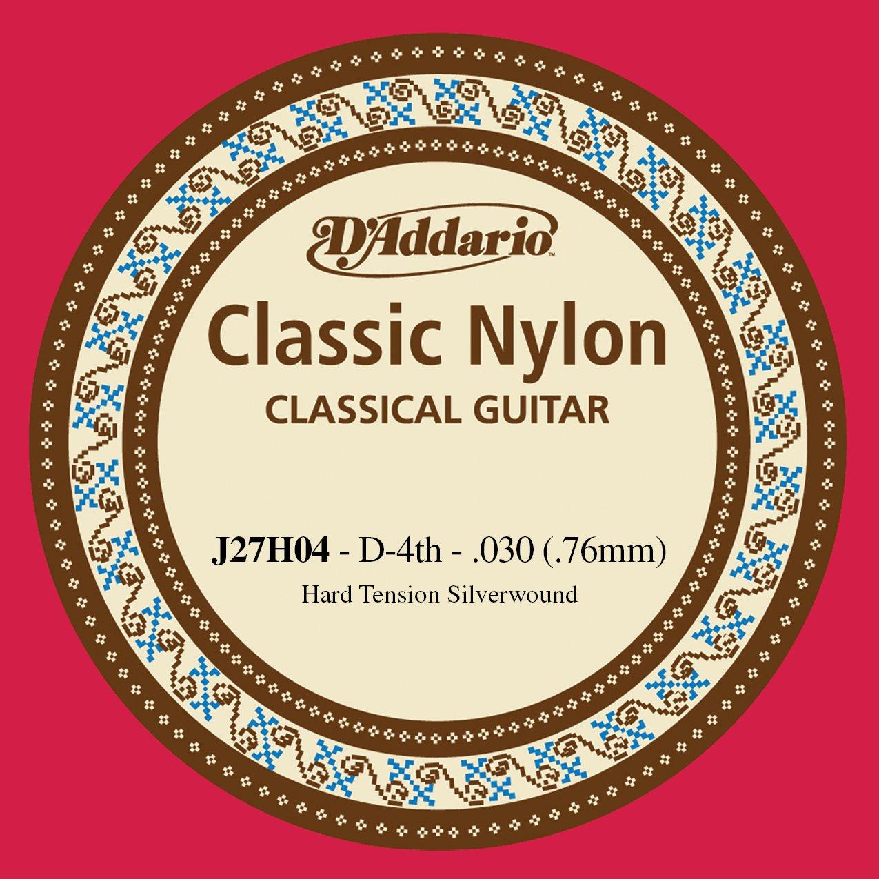 D'Addario J27H04  Student Nylon Classical Guitar Single String, Hard Tension, Fourth String