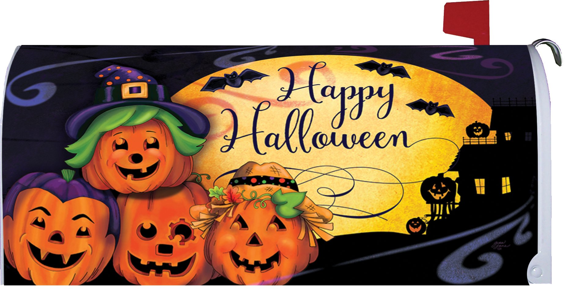 Happy Halloween - Mailbox Makeover - Vinyl with Magnetic Strips - Licensed, Copyrighted and Made in the USA by Custom Decor Inc. by Custom Decor