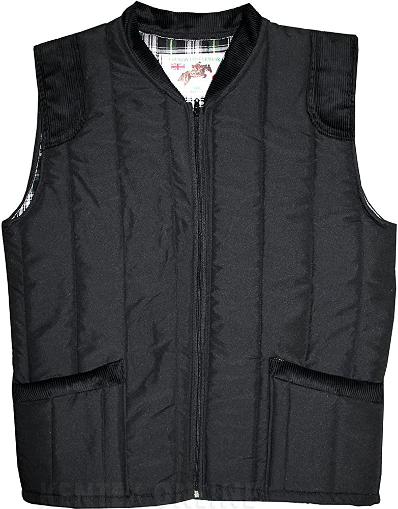 Mens Bodywarmers with Inside Lining Padded Warm Brushed Winterwear X-Large, Black
