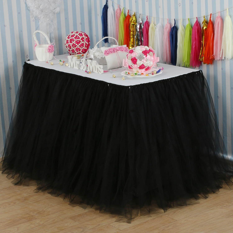 vLoveLife 100cm ベビーピンク チュール素材チュチュ風テーブルスカート テーブルウェア テーブルクロス パーティー ベビーシャワー 誕生日 ウェディングの装飾 記念品 カスタマイズ可 100cm X 80cm ブラック B06X9TDL6P ブラック ブラック