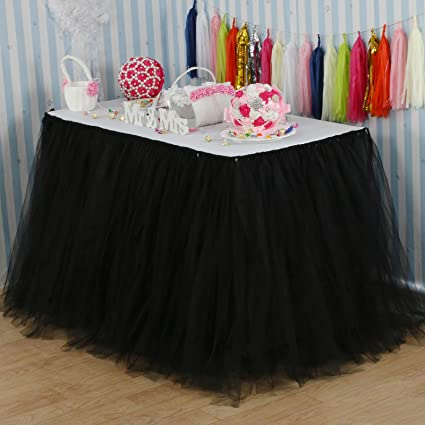 9c68350460 Amazon.com: vLovelife 100cm Black Tulle Tutu Table Skirt Tableware  TableCloth Party Baby Shower Birthday Wedding Decorations Favor Customized  Size ...