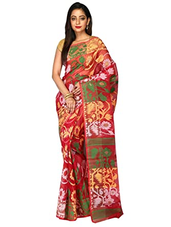 34910e928a Image Unavailable. Image not available for. Colour: ar shop Women's Cotton  Silk Handloom Dhakai Jamdani Tant Saree ...