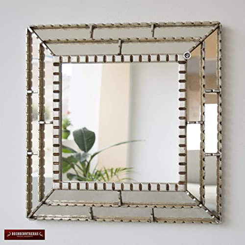 Amazon Com Handmade Decorative Accent Mirror Wall 18 1 Bathroom Mirror For Wall Decor Ornate Silver Mirror Peruvian Mirror With Silver Wood Framed Handmade