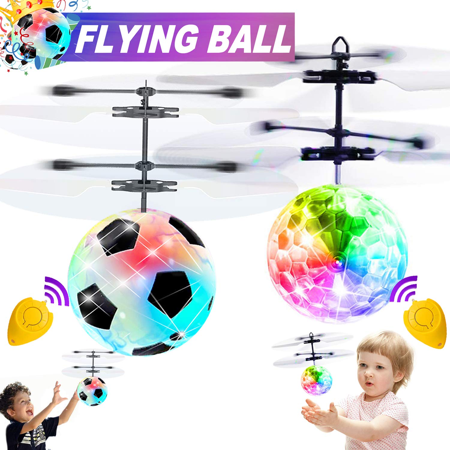2 Pack Flying Ball Kid Toys for Boy 5 6 Years Old Gift, Mini Drone Light Up Toy for Kid Christmas Gift, Soccer Toys Remote Control Helicopter Indoor Outdoor Toys for 5 6 7 8 9 10 11 Year Old Kids by Camlinbo