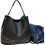 Dasein Faux Leather Studded 2-in-1 Hobo