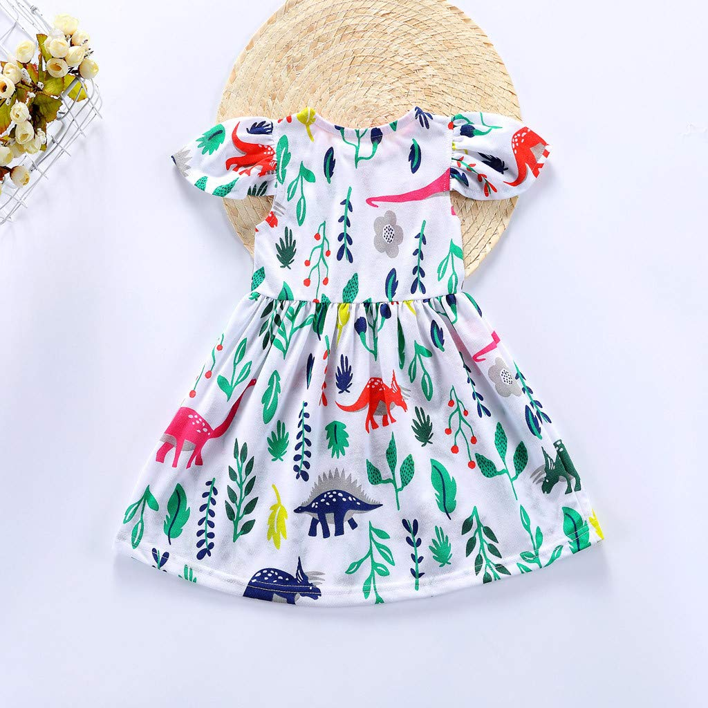 Toddler Baby Girls Kid Flowers Ruffles Cartoon Printed Dress Outfits Clothes WOCACHI Toddler Baby Girls Dresses