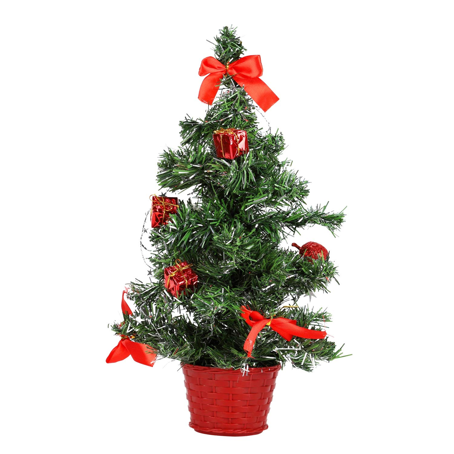 Balight Tabletop Christmas Tree, Mini Artificial Christmas Tree with Red Accessories for Xmas Indoor Outdoor Home Ornaments Decor