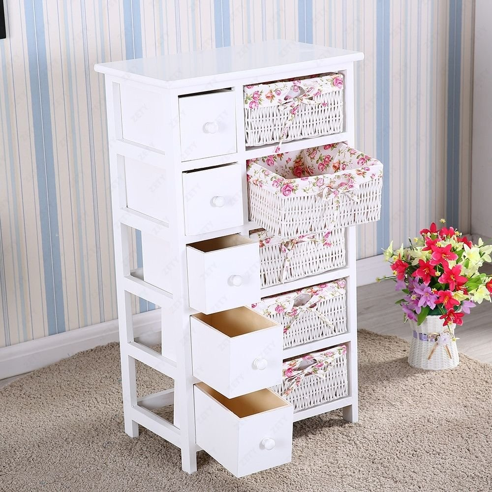 Walomes 5 Drawers 5 Baskets Storage Dresser Chest Cabinet Wood Bedroom Furniture