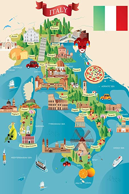 The Map Of Italy.Amazon Com Italian Tourist And Travel Destinations Illustrated Map