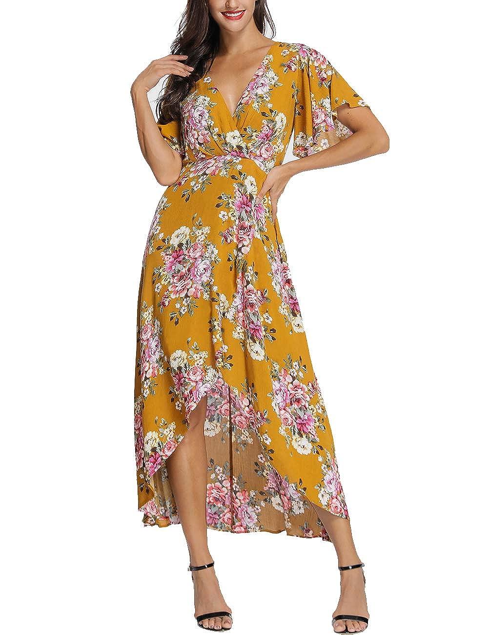 3dcbd8012ac Azalosie Wrap Maxi Dress Short Sleeve V Neck Floral Flowy Front Slit High  Low Women Summer Beach Party Wedding Dress at Amazon Women s Clothing store