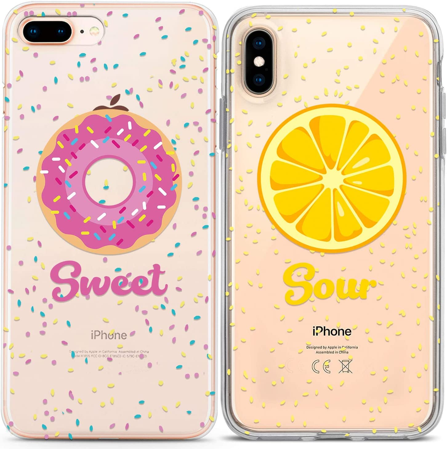 Lex Altern Couple Cases Compatible with iPhone 12 Pro Max 11 Mini SE Xr Xs 8 Plus 7 6 Pink Food Protective Cute Sour Soulmate BFFs Lemon Donut Sweet Yellow TPU Girlfriend Lightweight Clear Silicone