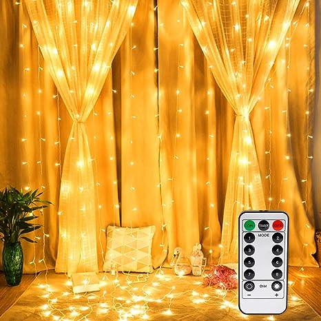 OUSFOT LED Lichtervorhang 3x3m Lichterkettenvorhang 300 LEDs mit...