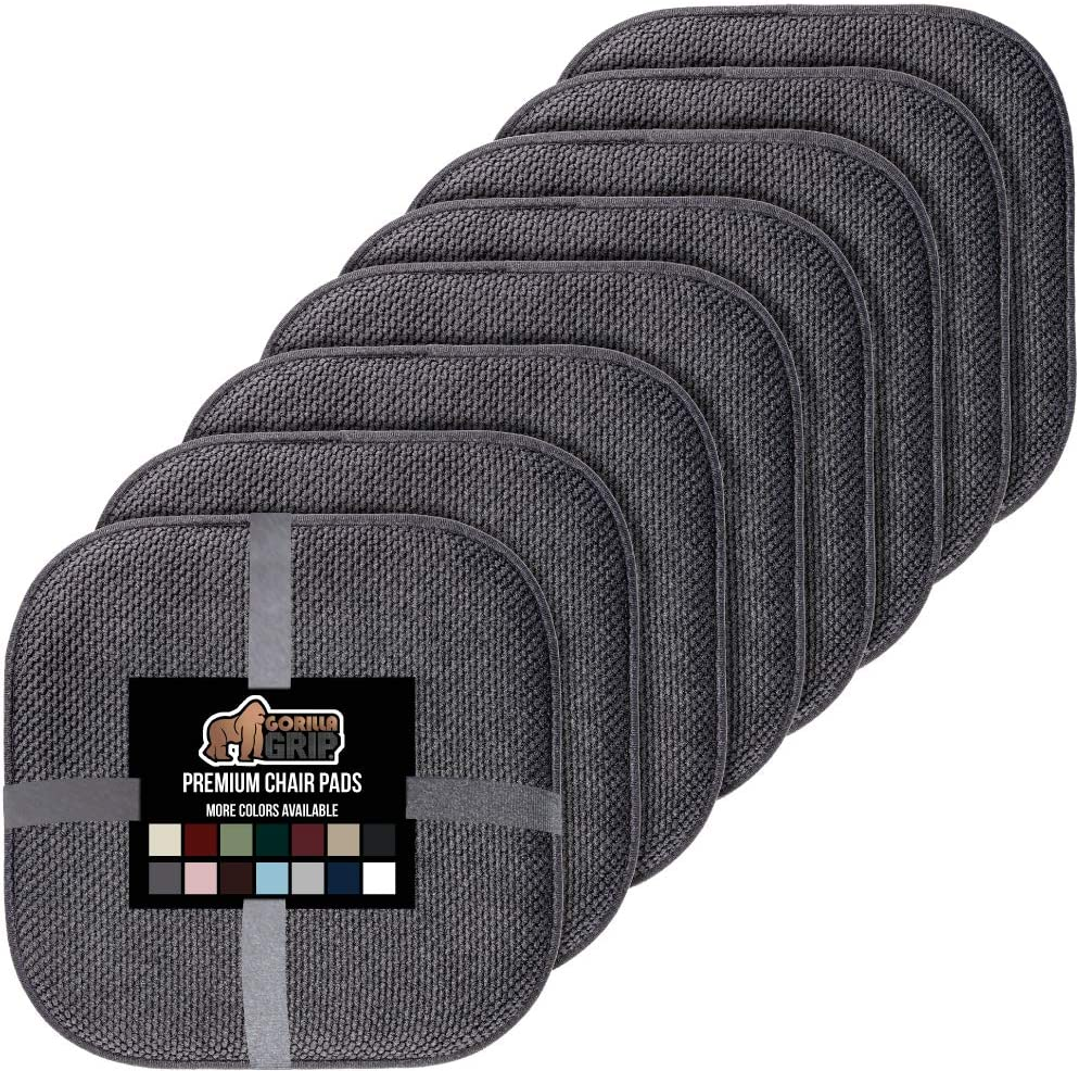 Gorilla Grip Original Premium Memory Foam Chair Cushions, 8 Pack, 16x16 Inch, Thick Comfortable Seat Cushion Pad, Large Size, Slip Resistant, Durable Soft Mat Pads for Office, Kitchen Chairs, Gray