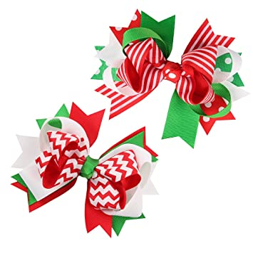 Christmas Hair Clips.Bestoyard 2pcs Christmas Hair Bows Grosgrain Ribbon Bowknot Hair Clip For Children Baby Girls
