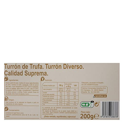 Amazon.com : 6 Pack Carrefour Chocolate-Coated Spanish Nougat 200g - Made In Spain - Supreme Quality - Truffle Nougat - Gluten-Free - Turron : Grocery ...