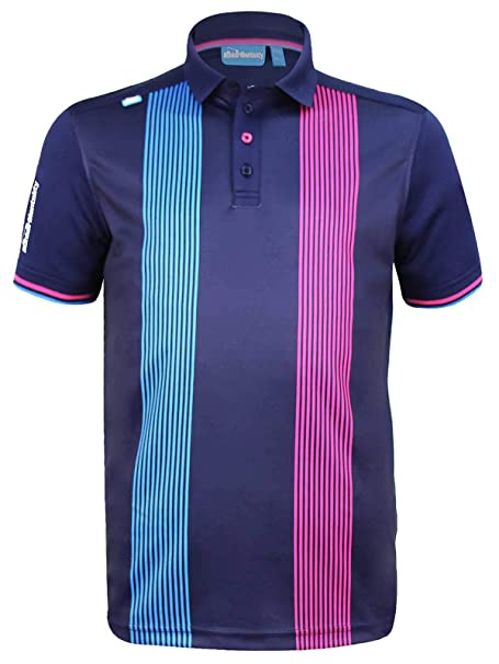 14f8b0dfdc Bunker Mentality Mens CMAX Vertical Pinstripe Stripe Golf Polo Shirt -  Navy: Amazon.co.uk: Clothing