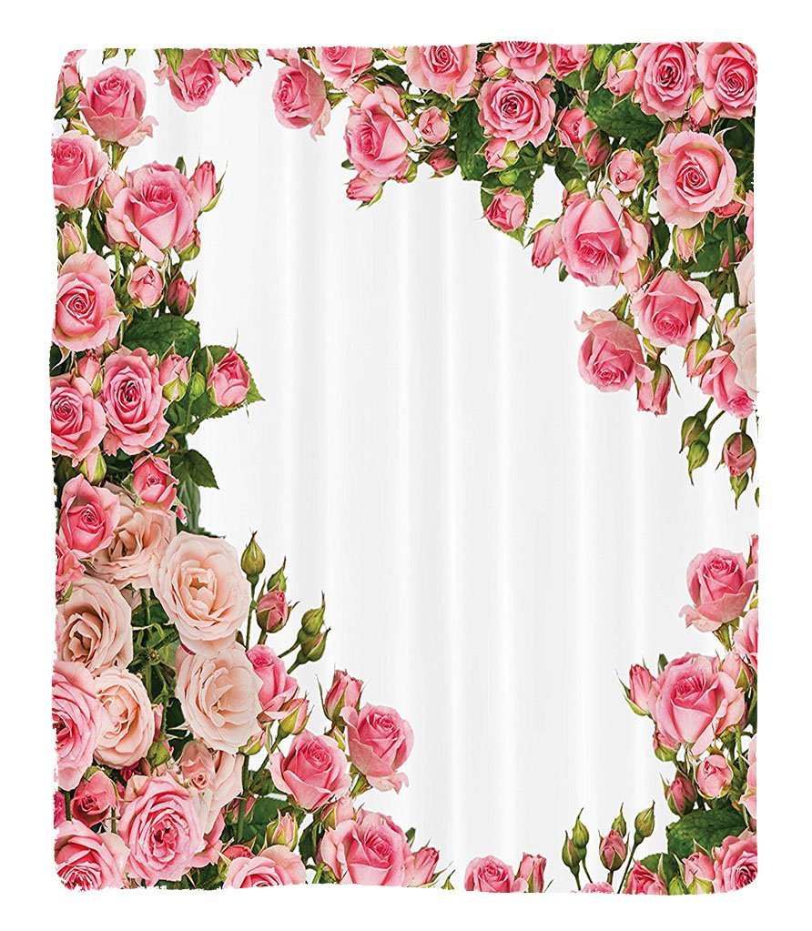 Chaoran 1 Fleece Blanket on Amazon Super Silky Soft All Season Super Plush Roses Decorations Collection Rose Bushes Frame Bridalummer Park Occasions Decorative Artwork Fabric et Pink