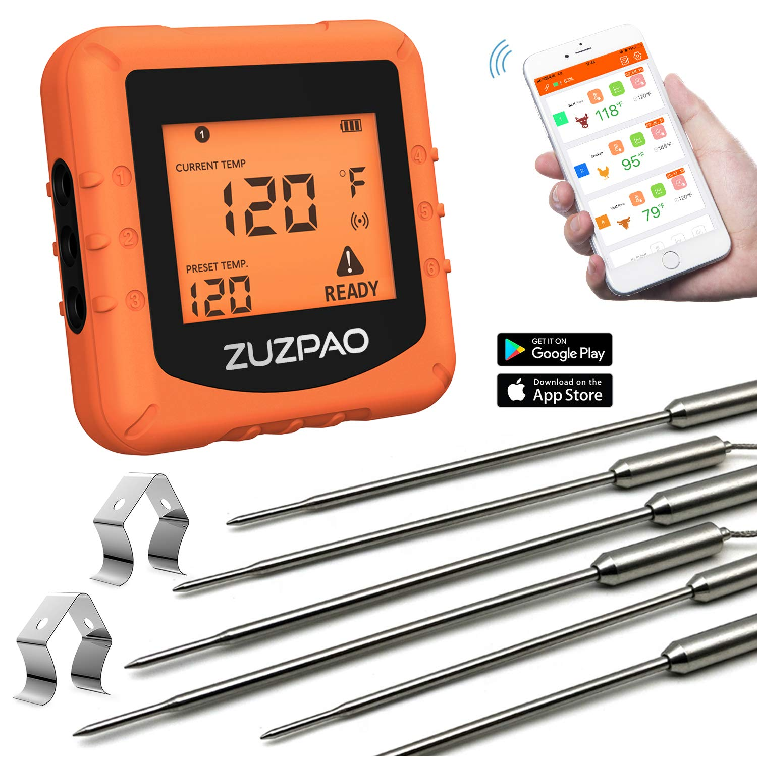 Meat Thermometer for Grilling, Zuzpao Wireless Digital BBQ Smoker Grill Remote Thermometer 6 Stainless Steel Probes and Smart APP Temperature Setting, Alarm Monitor Kitchen Cooking Thermometer by ZUZPAO
