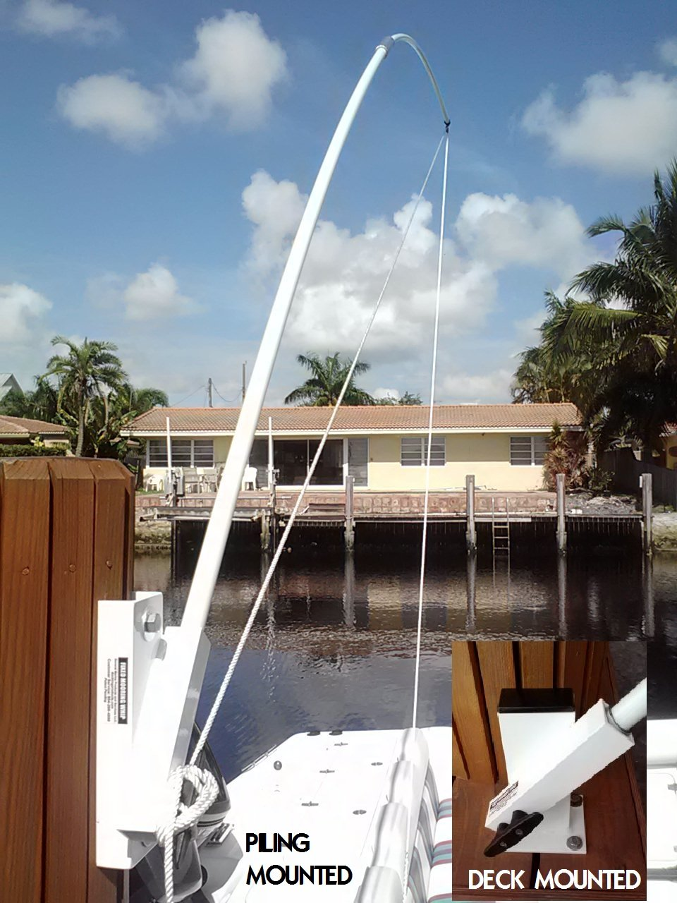 Mooring Whips Fixed Position Piling Mounted 14 ft. poles 20,000 lb all pleasure craft by General Marine Products