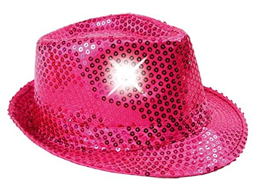 LED Light Clubstyle Party Hat - Trilby Glitter Sequin Hat - Flashing Fedora  Glitter Hat - 2dcf12393b93