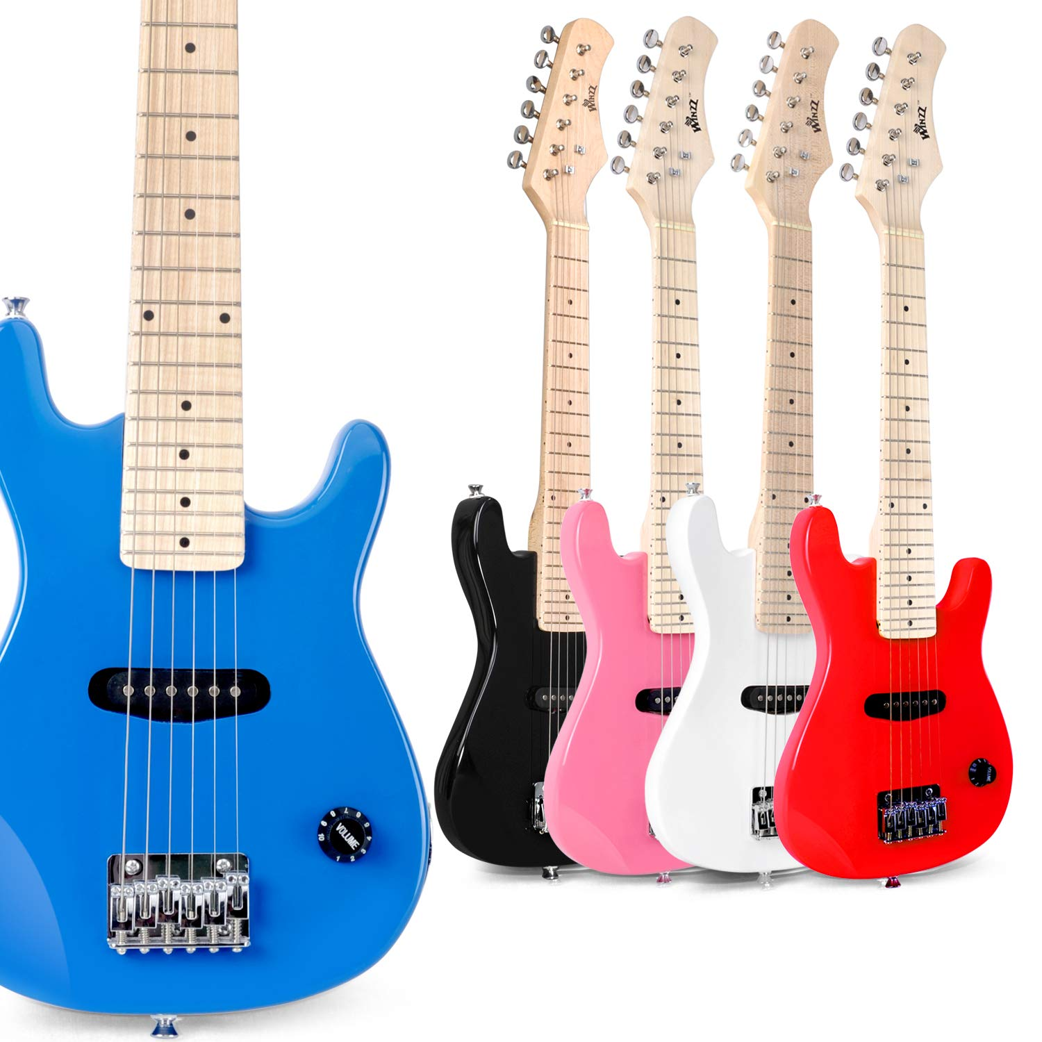 B07L648MQ6 WINZZ 30 Inches Real Kids Electric Guitar with Beginner Kit, Blue 71TuUpHUHLL