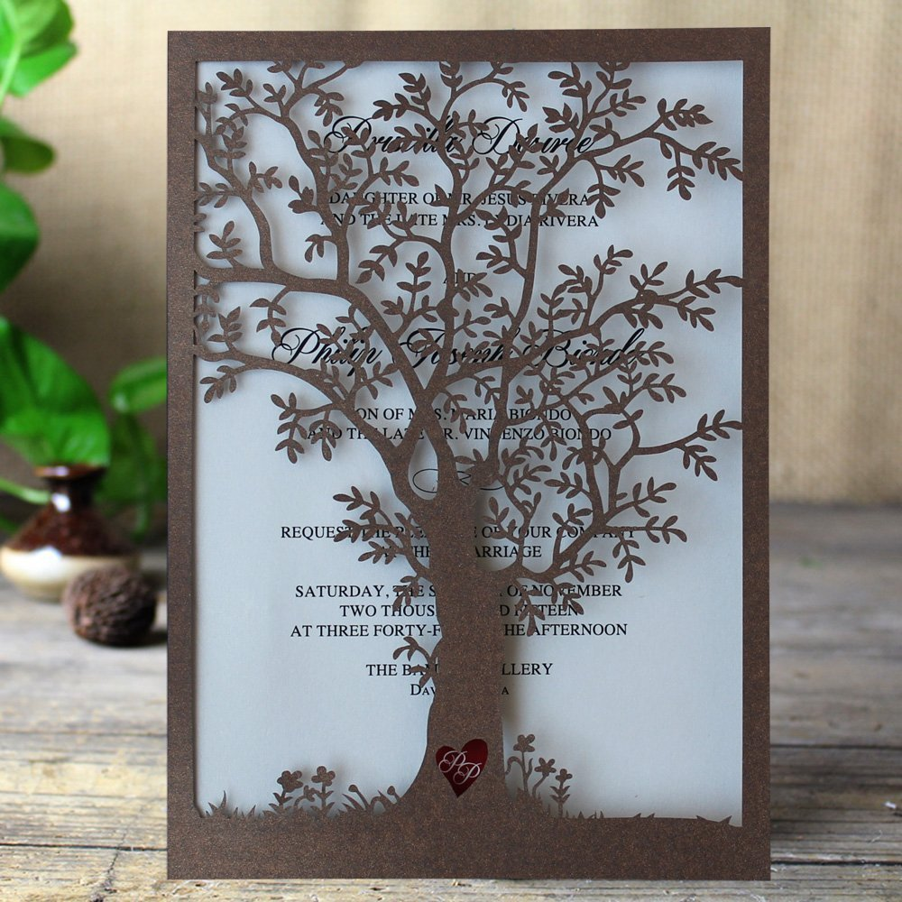 Rustic Tree Wedding Invitation, Laser Cut Tree Invitations, Brown Wedding Invitation Cards- Pack of 50
