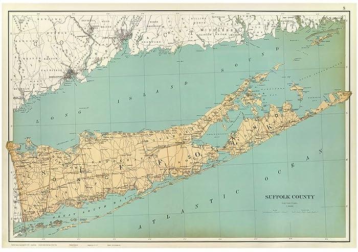 Suffolk County New York Map.Amazon Com Suffolk County Long Island 1895 Map New York Reprint