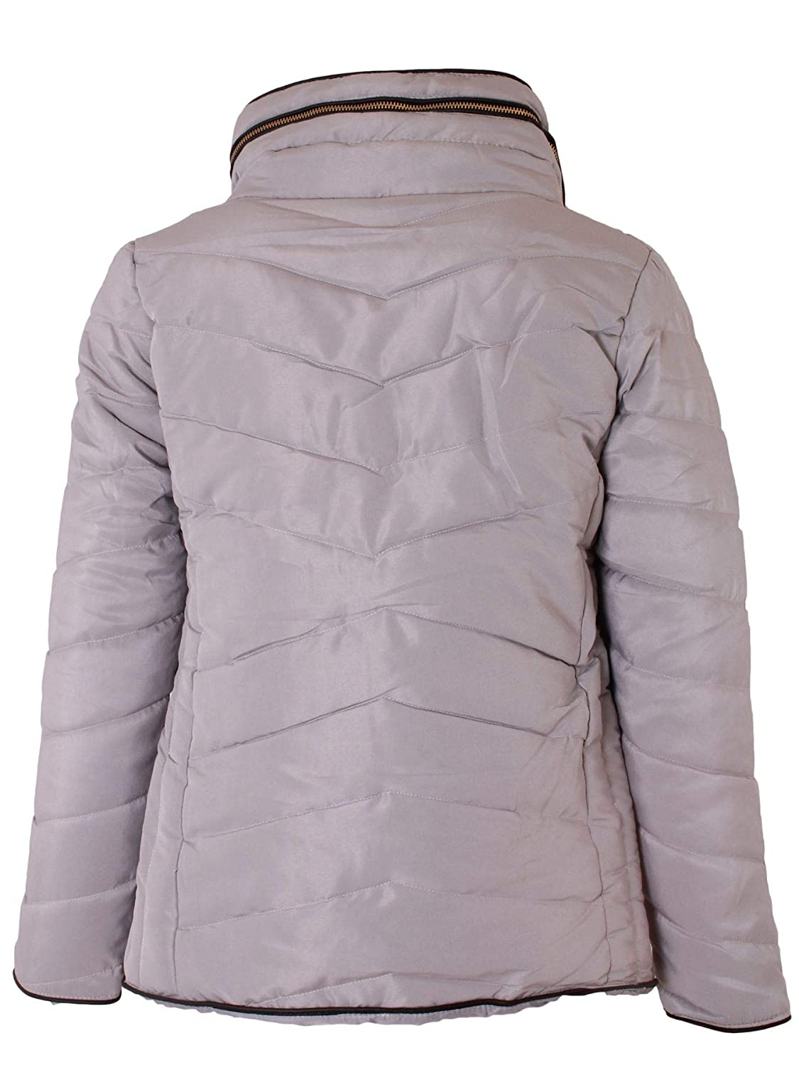 Ladies Quilted Hood Outwear Long Sleeve Curved Hem Winter Knitted Zip Up Warm Coat for Holidays and Traveling Love My Fashions/® Womens Jacket Parka Padded Puffer Bubble with Faux Fur Fitted Collar