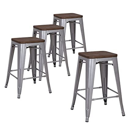 Pleasing Lch 24 Metal Industrial Counter Height Bar Stools With Square Elm Wood Seat Set Of 4 Backless Indoor Outdoor Stackable Stool Chairs Matte Silver Ncnpc Chair Design For Home Ncnpcorg