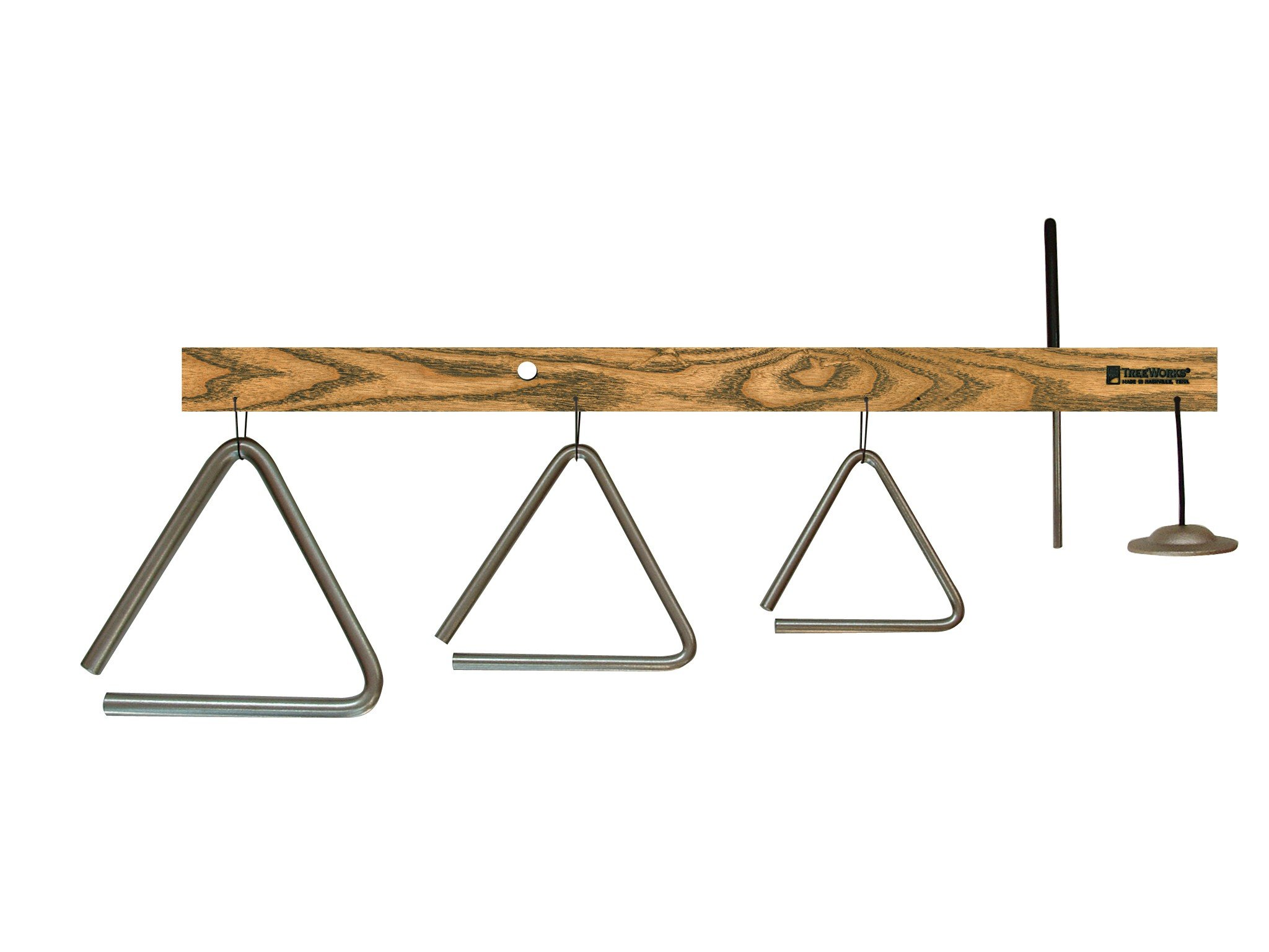 TreeWorks Chimes TRE04tt Made in USA Triangle Tree with 4'', 5'', and 6'' Triangles, Finger Cymbal, and Triangle Beater (VIDEO)