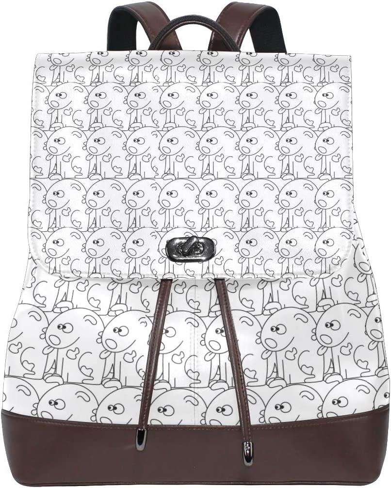 Leather Cute Dogs White And Black Backpack Daypack Bag Women
