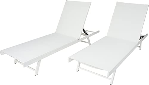 Christopher Knight Home Salton Outdoor Aluminum and Mesh Chaise Lounge Set, 2-Pcs Set, White White