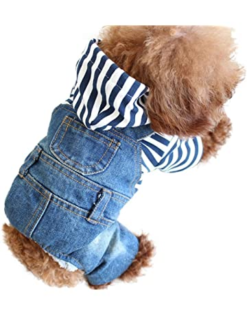 cdeea60bee1 SILD Pet Denim Jumpsuit Dog Jeans Hoodies Cool Blue Coat Medium Small Dogs  Classic Jacket Puppy