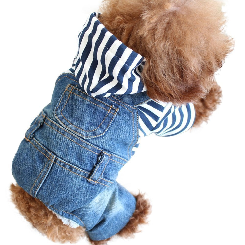 SILD Pet Denim Jumpsuit Dog Jeans Hoodies Cool Blue Coat Medium Small Dogs Classic Jacket Puppy Blue Vintage Washed Vests (M)