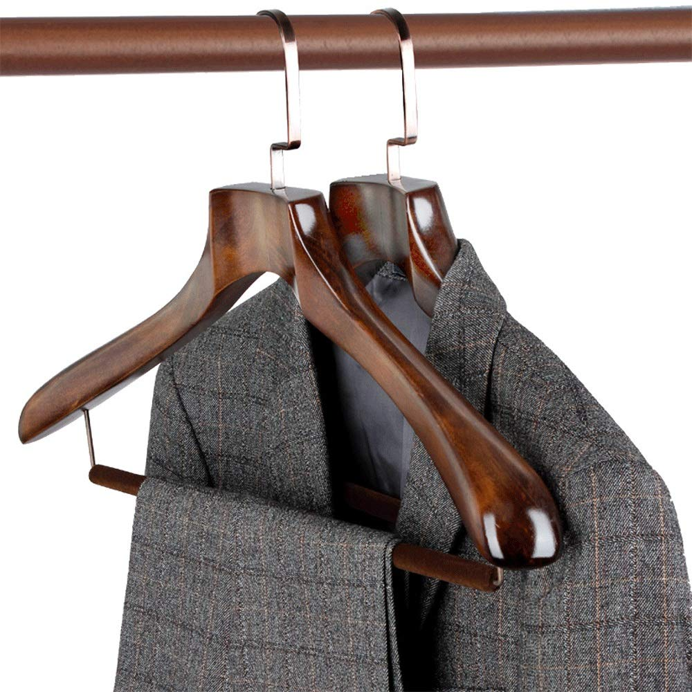 ハンガー 10ヘビーデューティウッドハンガードレスのスーツクローゼット多機能ハンガーのための余分な広い肩付きスーツコートパンツジャケットハンガー (Color : Retro, Size : 44.5*26) B07SVCH7XS Retro 44.5*26