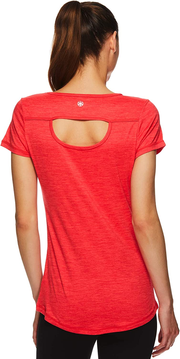 B07NF8FXTB Gaiam Women\'s Open Back Yoga T-Shirt - Short Sleeve Workout Exercise & Gym Top 71zV6Z%2BjTaL