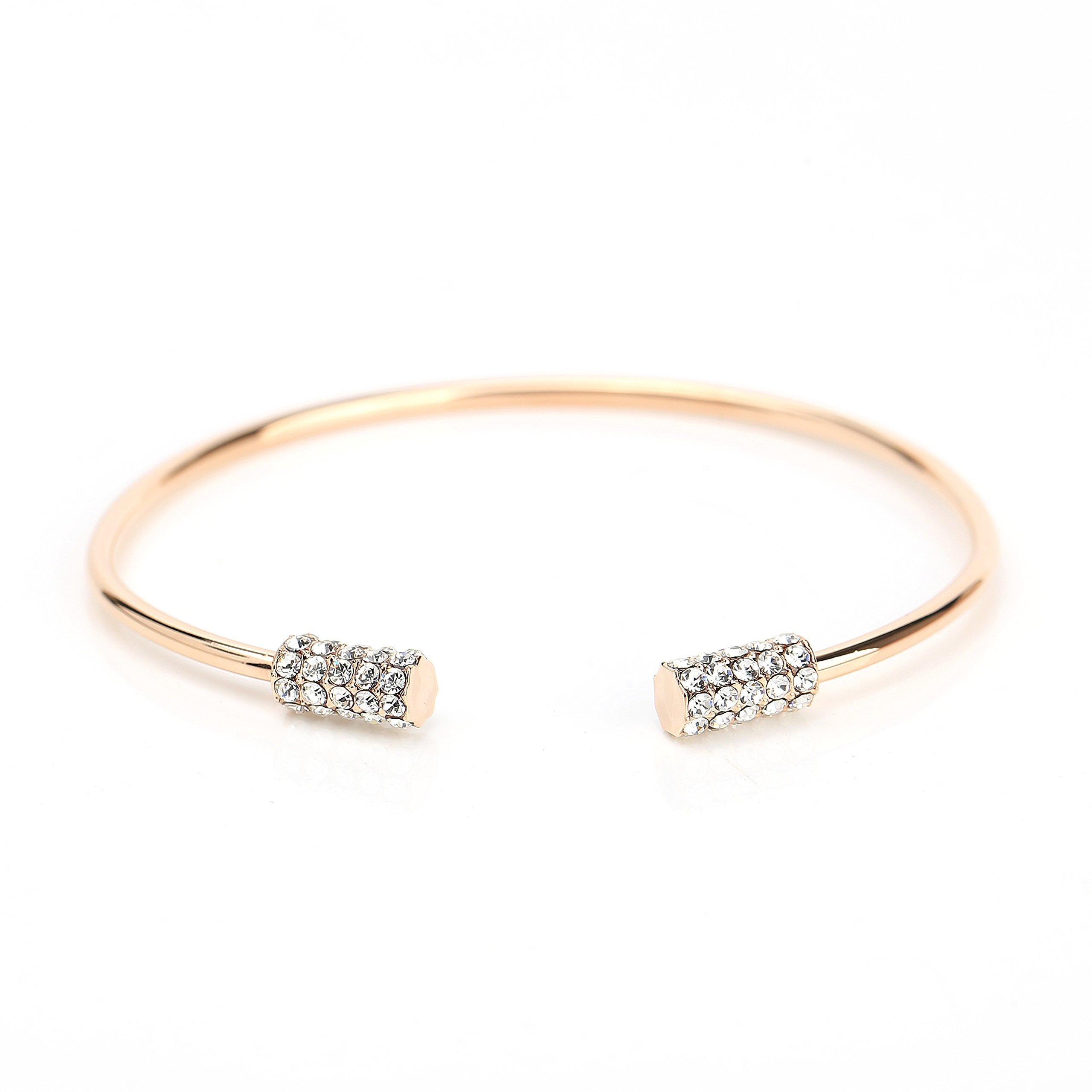 United Elegance Trendy Designer Bangle Bracelet with Sparkling Swarovski Style Crystals (220003)