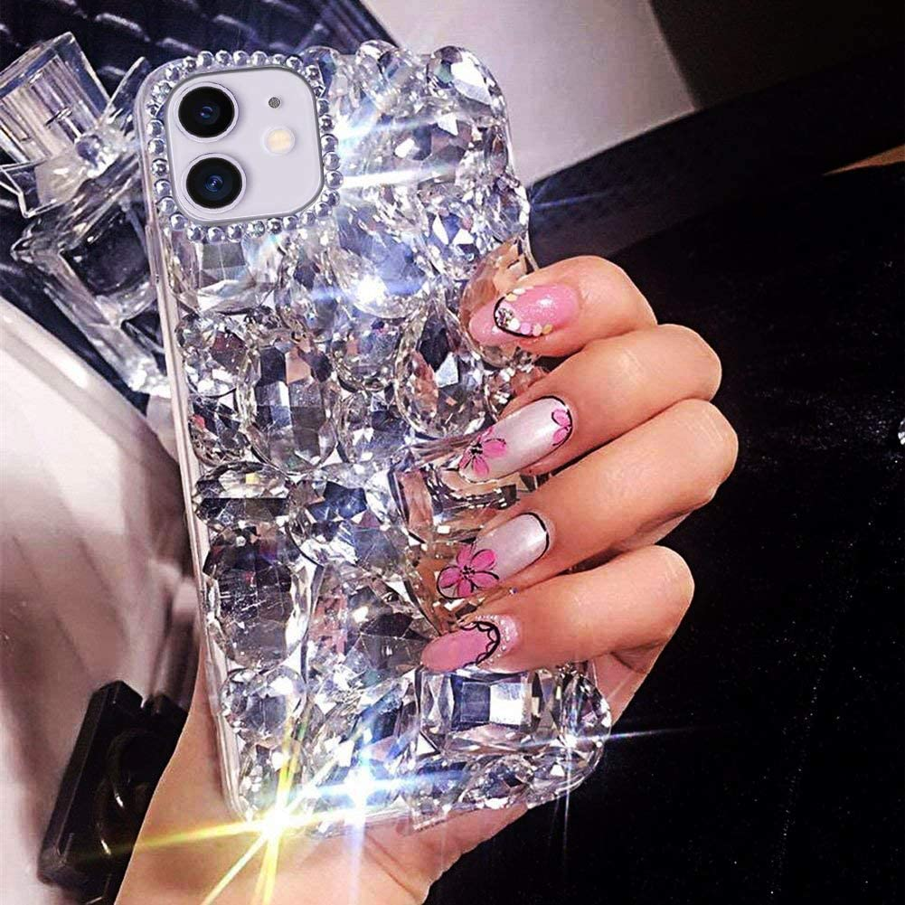 BONITEC for iPhone 11 Case 3D Glitter Sparkle Bling Case Luxury Shiny Crystal Rhinestone Diamond Bumper Clear Gems Protective Case Cover