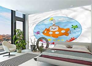 LCGGDB Cute Large Wall Mural,Cat in a Submarine Ocean Life Removable Large Sticker Foil Wall Decor for Office Kids Bedroom Nursery Family Decor-78x55 Inch