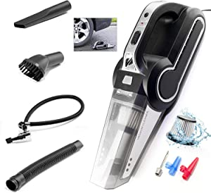 ST Car Vacuum, Portable Car Vacuum Cleaner, with Tire Inflator and Tire Pressure Gauge, 120W High Power Wet & Dry with Searchlight DC-12V for Car Clean