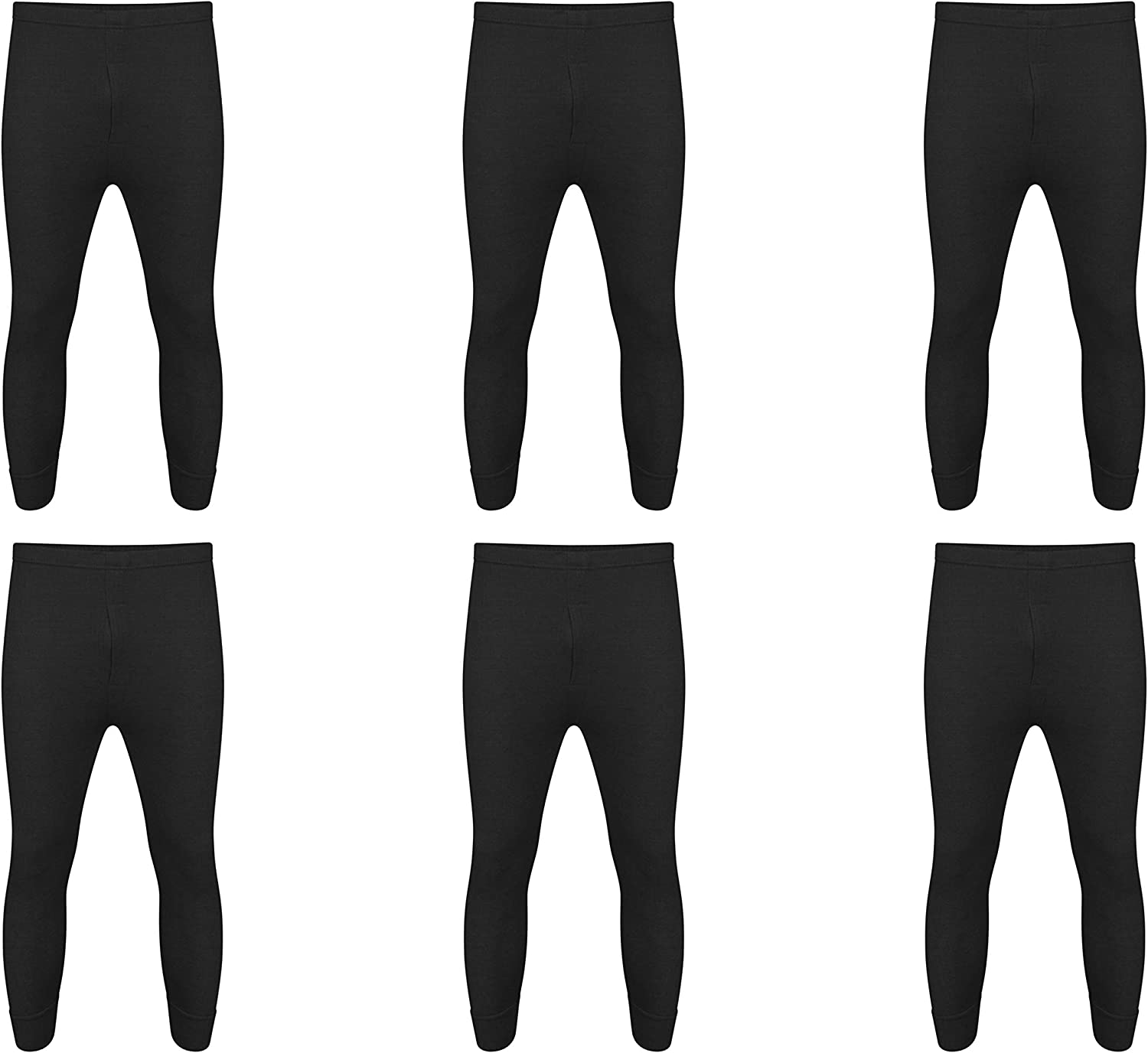 Black Long John, XL 6 x Mens Thermal Long Johns Top Bottom Underwear Trousers T Shirt Set S M L XL/